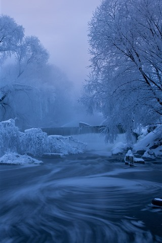 iPhone Wallpaper Winter, snow, trees, river, fog, dawn