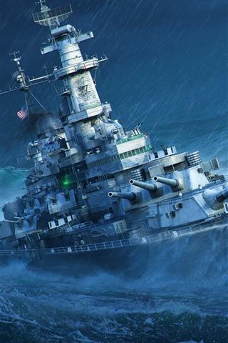 iPhone Wallpaper World of Warships, sea, battleship