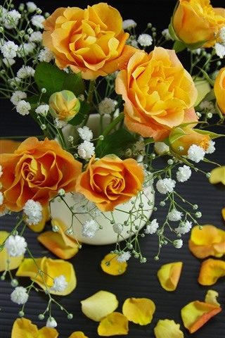 iPhone Wallpaper Yellow roses, petals, white little flowers, bouquet