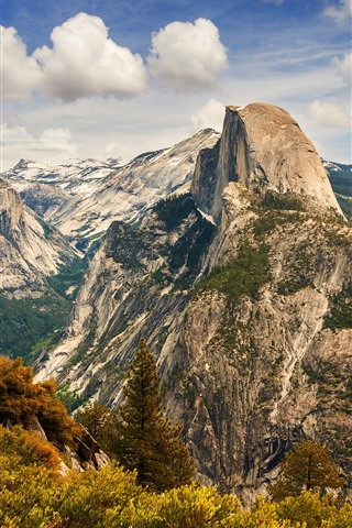 iPhone Wallpaper Yosemite National Park, mountains, trees, clouds, top view, USA