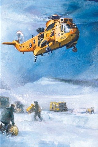 iPhone Wallpaper Art painting, helicopter, rescuers, sheep, snow, winter
