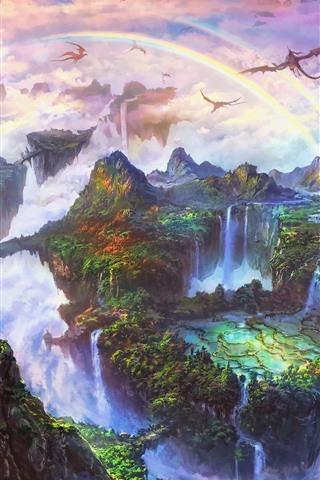 iPhone Wallpaper Beautiful fantasy world, rainbow, dragon, mountains, waterfall