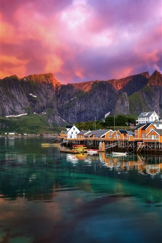 iPhone Wallpaper Beautiful fjord, village, Norway, lake, clouds, morning