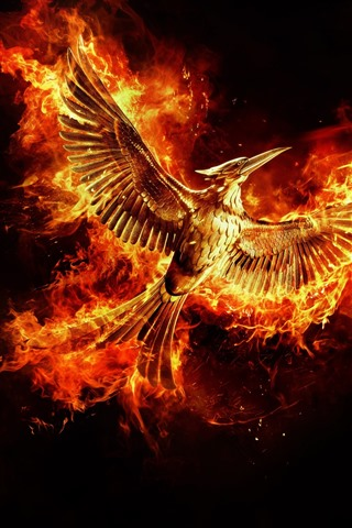 iPhone Wallpaper Beautiful phoenix, wings, flight, fire, black background