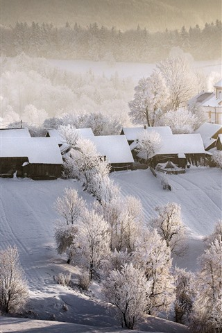 iPhone Wallpaper Beautiful winter, village, houses, white snow, trees, fog, morning