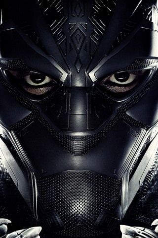 iPhone Wallpaper Black Panther, mask, superhero