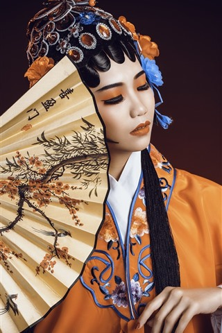 iPhone Wallpaper Chinese girl, Peking Opera Dress Up, culture