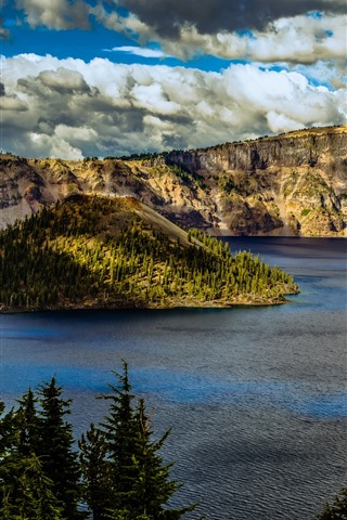 iPhone Wallpaper Crater Lake National Park, mountains, trees, clouds, USA
