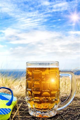 iPhone Wallpaper Flip flops, beer, cup, summer, sunshine