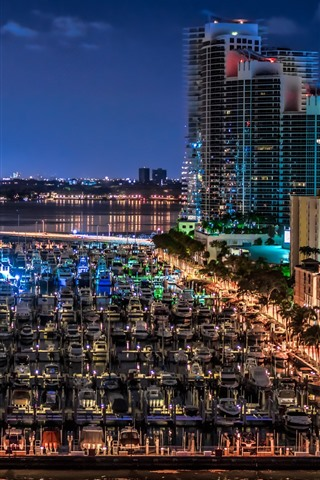 iPhone Wallpaper Florida, Miami Beach, yachts, dock, city, night, USA