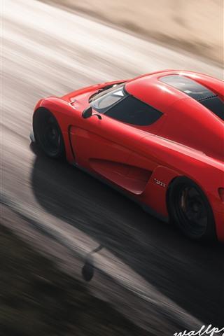 iPhone Wallpaper Forza Horizon 4, red Koenigsegg supercar speed