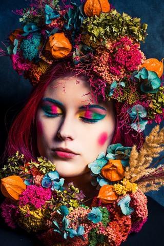 iPhone Papéis de Parede Menina, decoração de cabelo, colorida, fotografia de arte