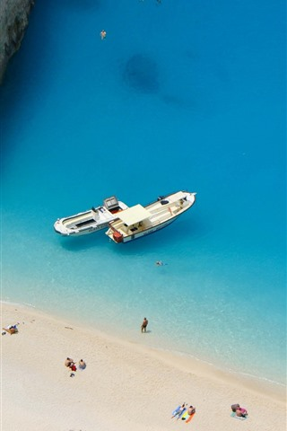 iPhone Wallpaper Greece, blue sea, beach, people, boats