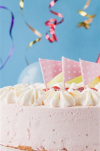 iPhone Papéis de Parede Feliz aniversario, bolo, decoração