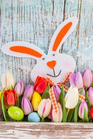 iPhone Обои Счастливой Пасхи, тюльпаны, разноцветные, яйца, кролик