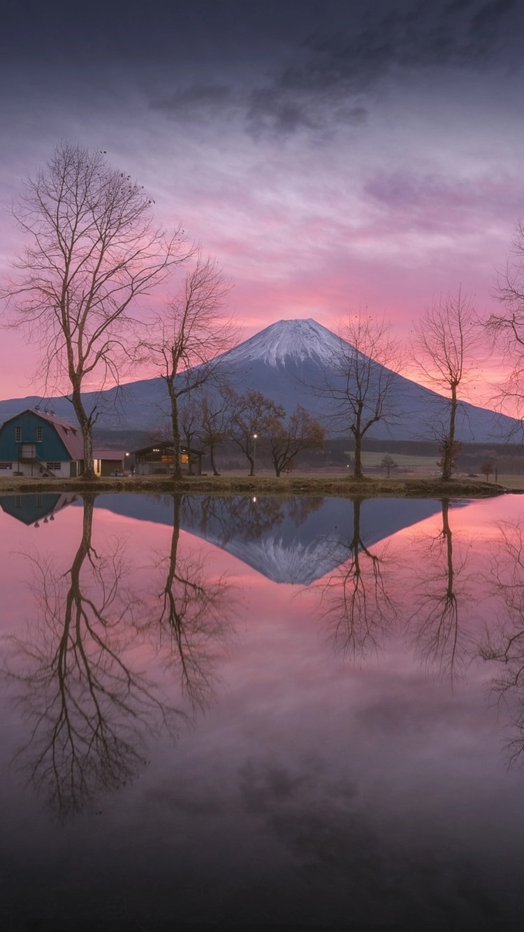 Japan Fuji Mountain Lake Water Reflection Trees Glow