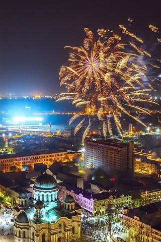 iPhone Wallpaper Lithuania, Kaunas, fireworks, night, city, lights