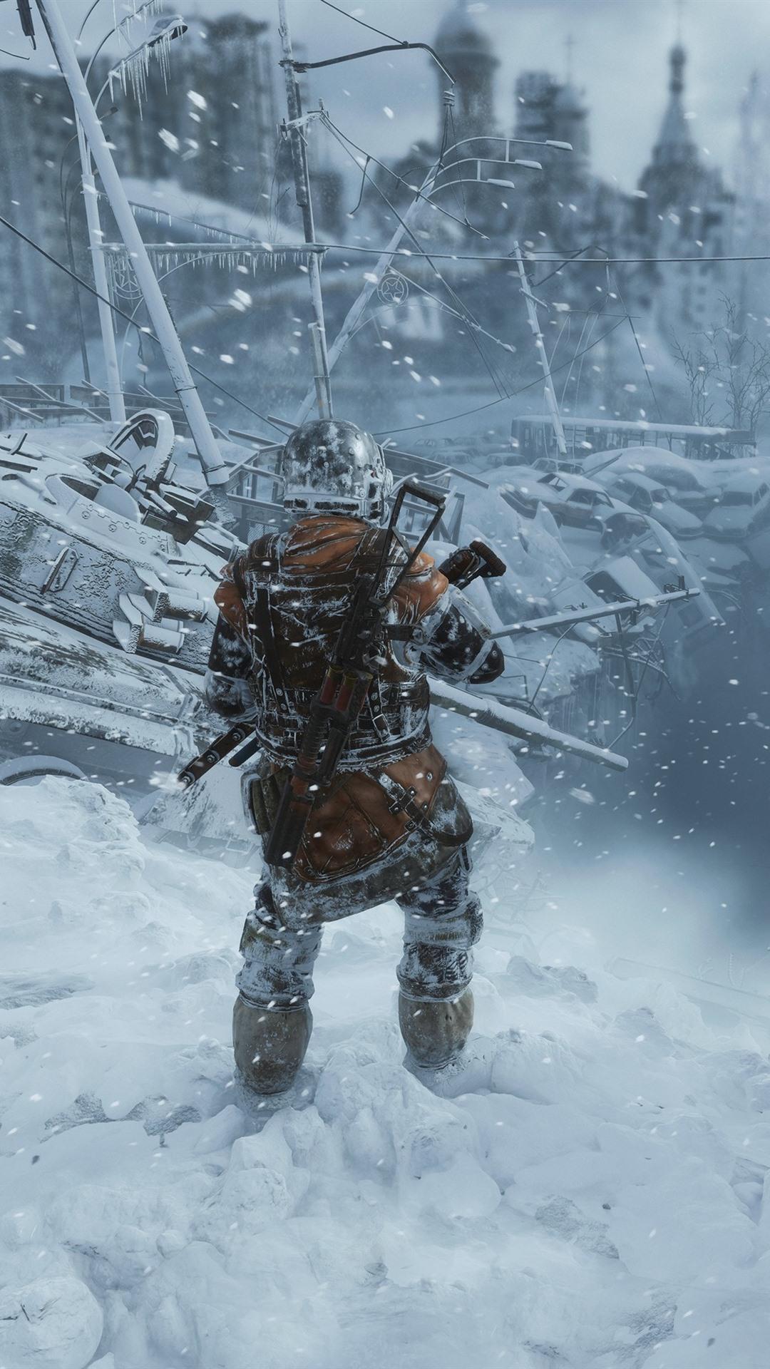 Metro Exodus City Ruins Soldier Winter 1080x1920 Iphone