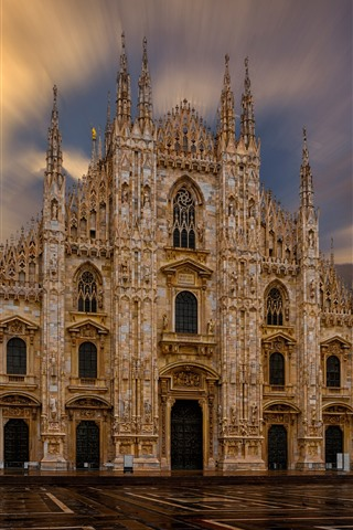 iPhone Wallpaper Milan Cathedral, Italy, sun rays, dawn
