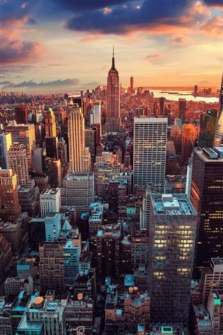 iPhone Wallpaper New York, Manhattan, city, skyscrapers, sunset, USA