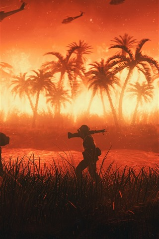 iPhone Wallpaper Palm trees, Vietnam, soldiers, helicopter, fire, war, art picture