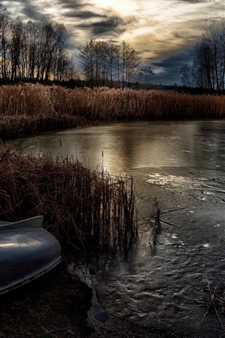 iPhone Wallpaper Pond, grass, trees, boat, ice, dusk, autumn