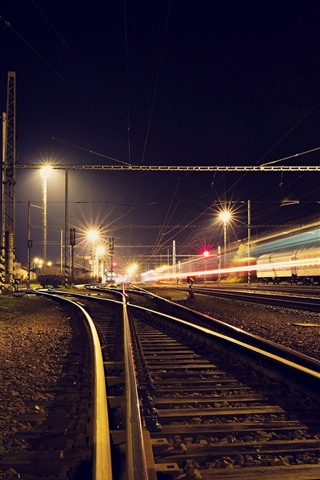 iPhone Wallpaper Railroad, track, light lines, night