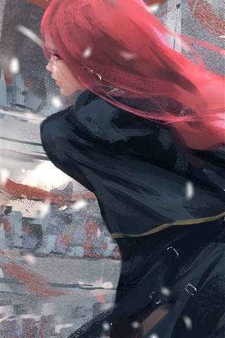 iPhone Wallpaper Red hair fantasy girl, back view, sword, wind