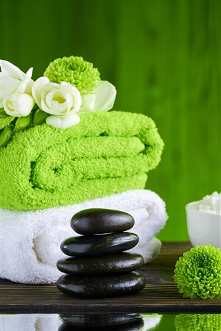 iPhone Wallpaper SPA theme, towel, green flowers, bamboo, stones, salt