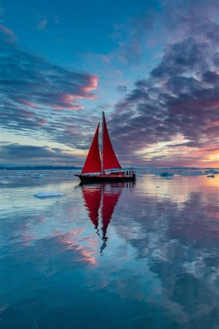 iPhone Wallpaper Sailboat, sea, clouds, ice, sunset, water reflection