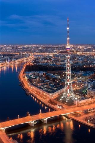 iPhone Wallpaper Saint Petersburg, Russia, city night view, tower, bridge, river