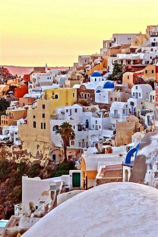 iPhone Wallpaper Santorini, Greece, city, houses