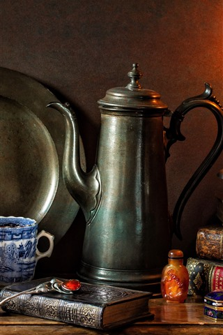 iPhone Wallpaper Still life, candle, flame, books, kettle, cup, spoon