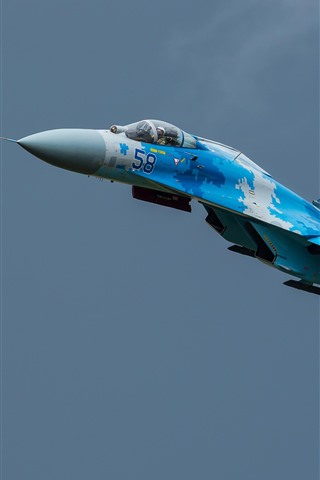 iPhone Wallpaper Su-27 fighter, flight, sky, aircraft