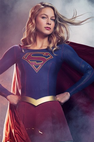 iPhone Wallpaper Supergirl, TV series, blonde girl, superhero