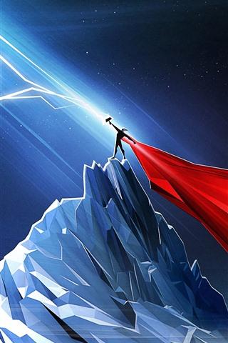 Thor Lightning Mountains Night Art Picture 1080x1920