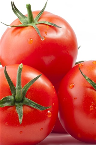iPhone Wallpaper Tomatoes, vegetable, white background