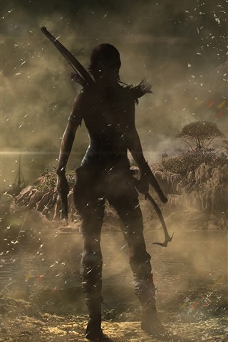 iPhone Wallpaper Tomb Raider, Lara Croft, back view, ship, wind