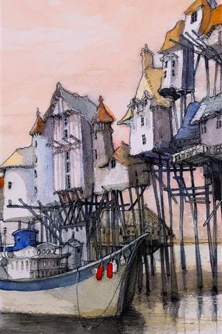 iPhone Wallpaper Watercolor painting, dock, houses, boat, sea
