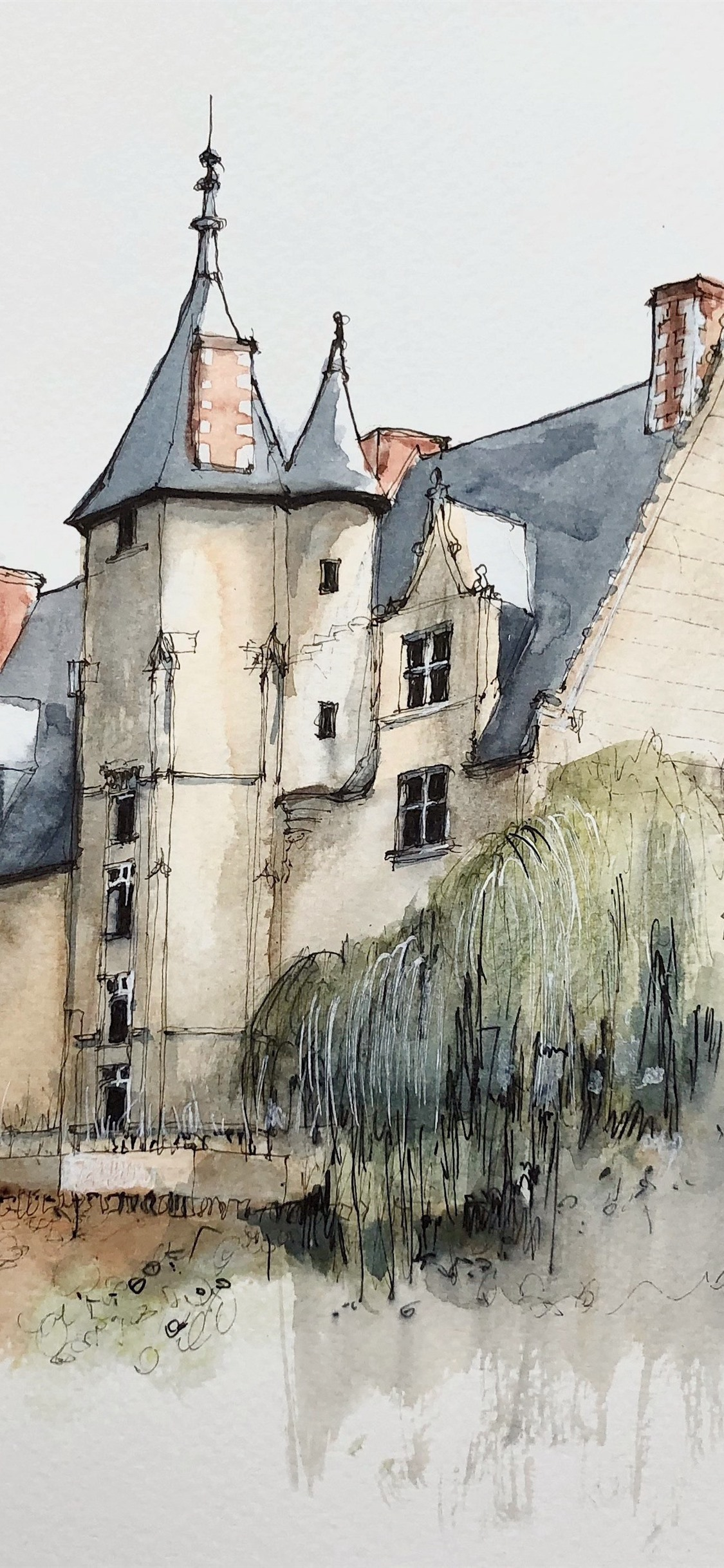 Watercolor Painting Village House 1125x2436 Iphone Xs X