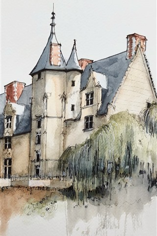 iPhone Wallpaper Watercolor painting, village, house