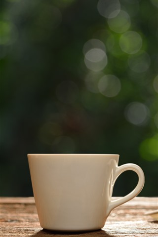 iPhone Wallpaper White cup, book, hazy