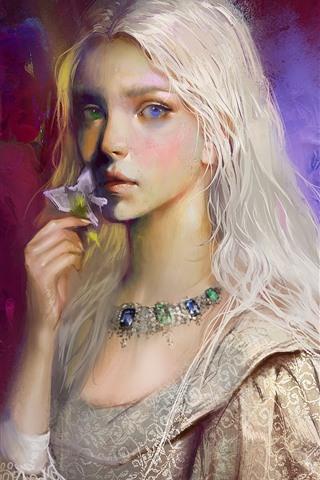 iPhone Hintergrundbilder Weißes Haar Mädchen, Kunstmalerei