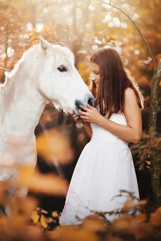 iPhone Wallpaper White skirt girl and white horse, forest