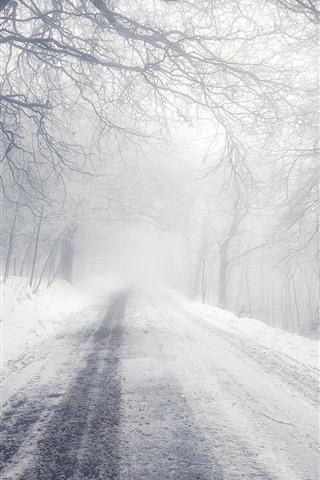 iPhone Wallpaper Winter, road, snow, trees, morning, fog