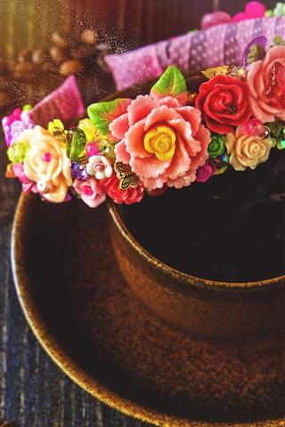 iPhone Wallpaper Wreath, coffee, coffee beans
