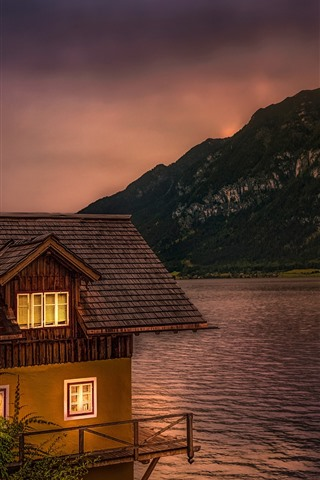 iPhone Wallpaper Austria, Lake Hallstatt, house, dusk
