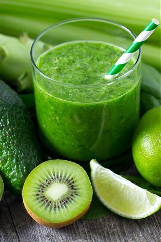 iPhone Wallpaper Avocado, kiwi, green lemon, drinks