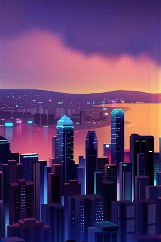 iPhone Wallpaper Beautiful Hong Kong night, skyscrapers, vector picture
