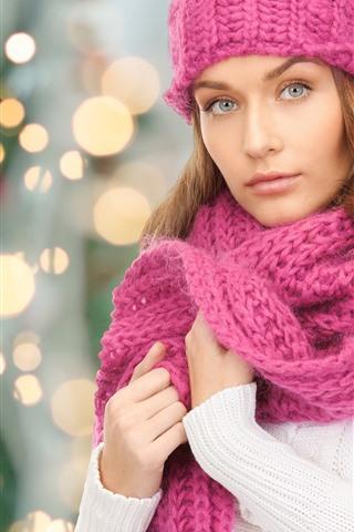 iPhone Wallpaper Beautiful girl, sweater, pink scarf, light circles